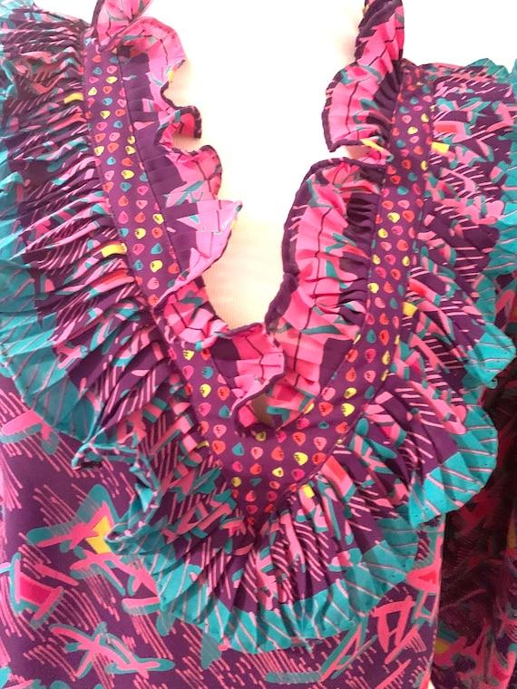 Vintage Ruffle Purple Blouse - image 2