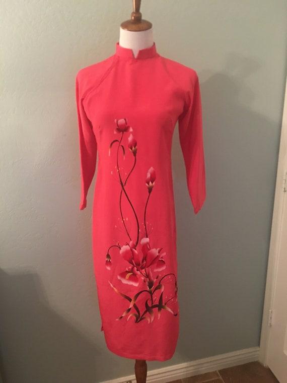 Vintage 70s Trang Oriental Coral Floral Dress Tun… - image 2