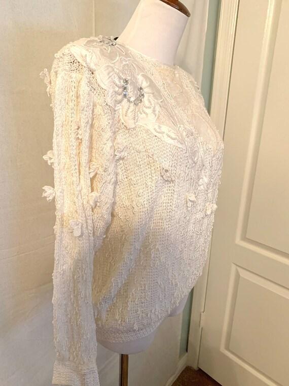 Vintage Italian Beaded Pearl Knit White Sweater