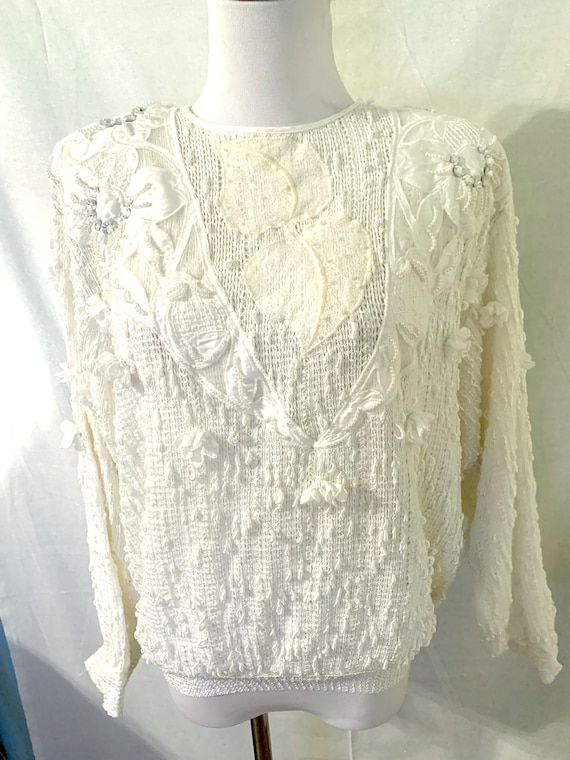 Vintage Italian Beaded Pearl Knit White Sweater - image 4