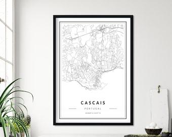 City street road map wall art Portugal Map Art Poster Cascais Map Print NM786 Lisbon Portuguese Riviera