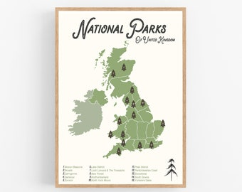 National Parks Uk Map.Uk National Park Map Etsy