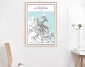 A Coruna Map Print, A Coruna Map Print, A Coruna Map Poster, City Map Print, Map Of A Coruna, A Coruna Map Wall Art