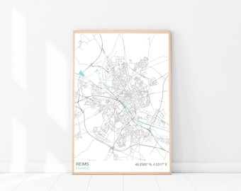 Reims map | Etsy