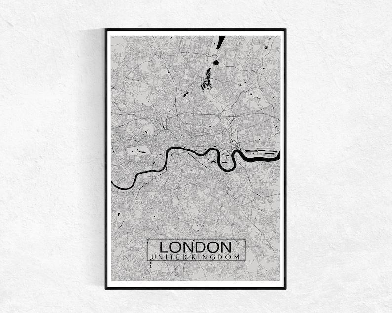 City Map Print London City Map Print Travel Gift Map Wall Art Custom Map Print London Grey Wall Art Graduation Gift House Warming