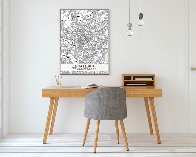 Black /& White Map Wall Art Custom Map Print Manchester Map Print Personalised Map Print Manchester Map Poster