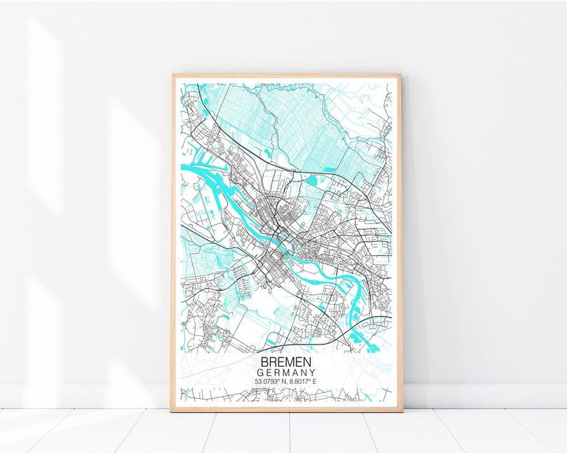 Bremen Map Print, Custom Map Print, City Map Poster, Map Wall Art, Street  Map, Travel Poster, Bremen Map Poster, Street Map