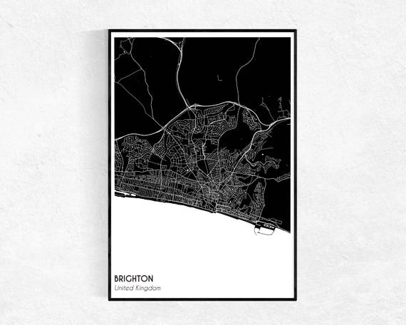 Brighton Uk Map Poster Custom Map Print Street Map Large Etsy