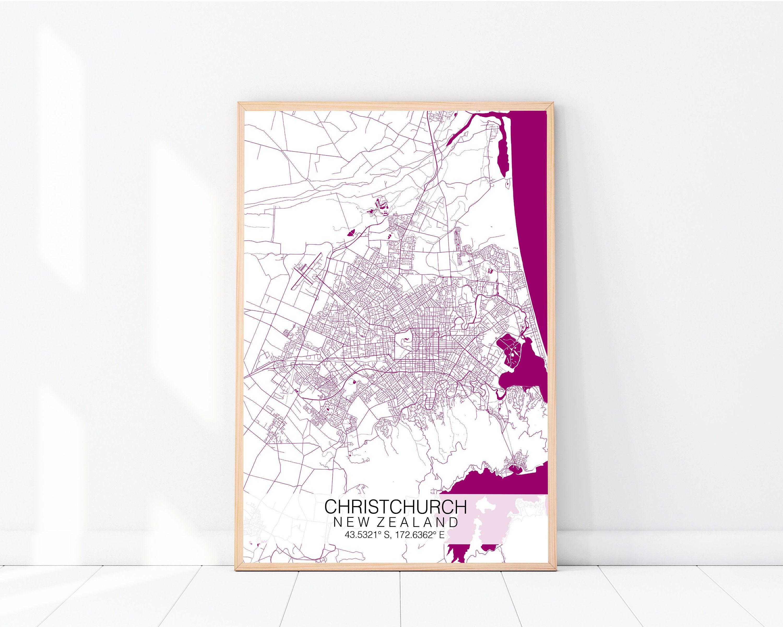 Christchurch Map Print, Custom Map Print, Street Map, Christchurch Map  Poster, Personalised Map Print, Map Wall Art, Custom Colour