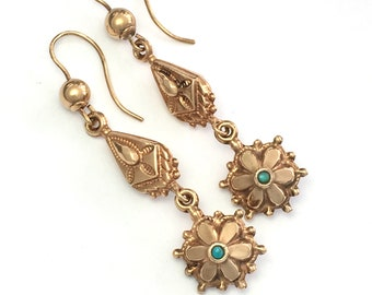 Antique Victorian 9CT Rose Gold Turquoise Drop Flower Earrings