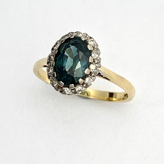 Vintage Tourmaline Diamond 18CT Gold Platinum Ring