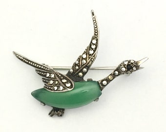Vintage Art Deco Sterling Silver Marcasite Flying Duck Goose Brooch with Green Semi-Precious Stone Jade Aventurine