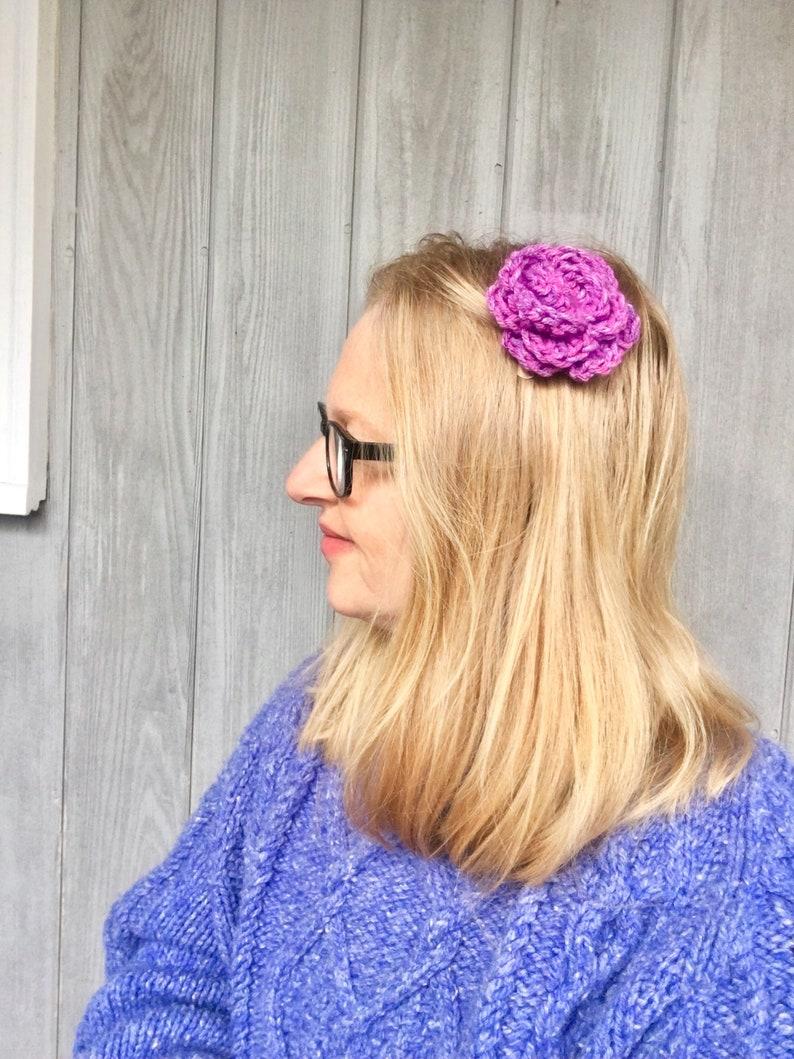Crochet Rose Hat Pin Crochet Rose Shawl Pin Crochet Rose Pattern Crochet Rose Hair Clip