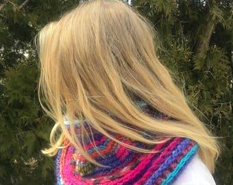 Multi -Colorful Bohemian Crocheted Cowl - Neckwarmer - Turtleneck