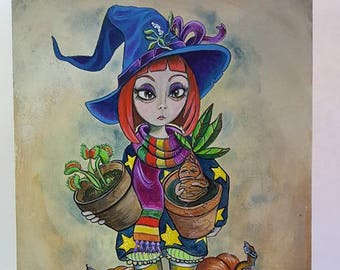 Original Painting Witch Mandrake Venus Flytrap Poisonous Gardener Pumpkin Halloween Folk Art 9 x 12
