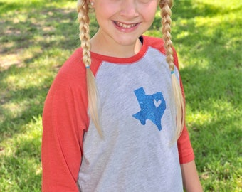 Girls Youth and Toddler Heart of Texas Baseball Tee