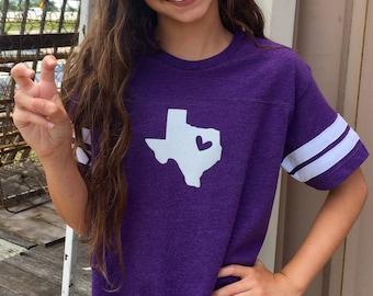 Girls Youth Heart of Texas TCU Football Tee