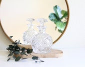 Vintage crystal hand cut liquor decanter, Crystal round bulb liquor decanter, Drinks cabinet, Bar cart decor