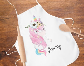 84480d7902d7 Pink Unicorn Apron for Girls, Personalized Unicorn Apron for Kids, Cooking  Party Favor, Custom Unicorn Apron for Girls, Printed Kids Apron