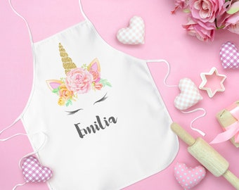 64733d28cacd Unicorn Kids Apron, Unicorn Party Favor, Apron For Girls, Personalized  Unicorn Girls Apron, Birthday Gift For Girl, Apron With Name For Kids