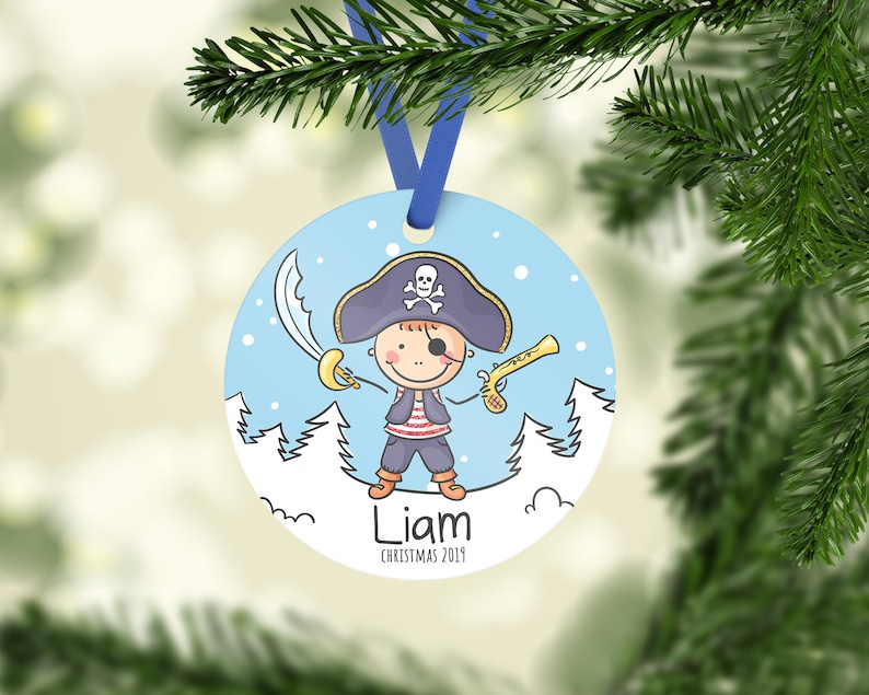 Pirate Boy Christmas Ornament  Personalized Christmas gift  Kids Christmas  Ornament  Toddler Boy Gift Idea for Christmas  Boy's Name Gift