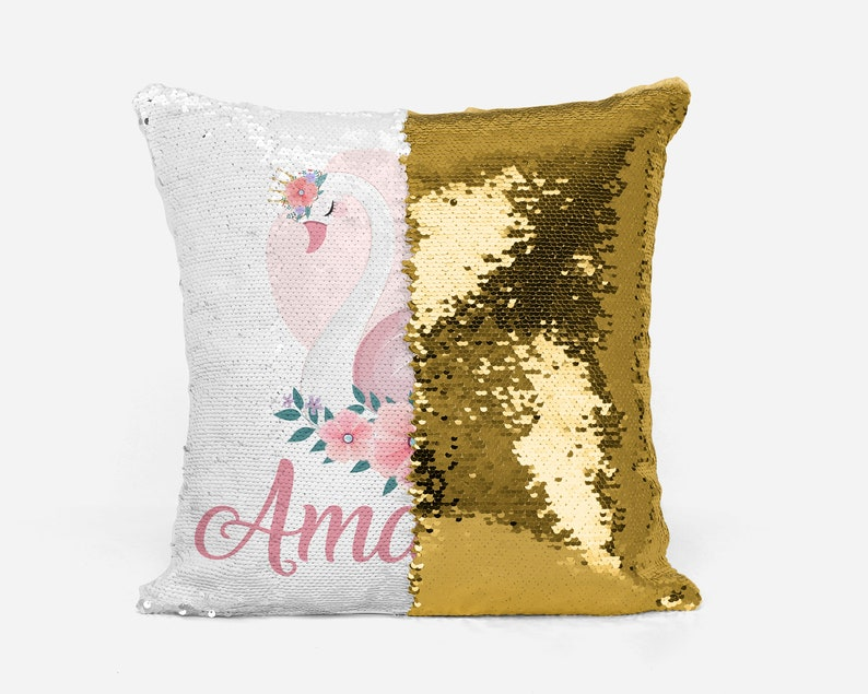 Swan Pillowcase Personalized Sequin Pillow Case Mermaid Pillow Cover Reversible Pillowcase Gift for Girl Floral Pillow Gift for Her