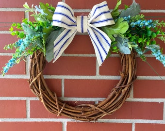 Country Cottage Wreath, Spring Decor, Summer Decor, Front Door Decor, Greenery, Blue Flowers, Blue Ivory Ribbon, Home Decor,Grapevine Wreath