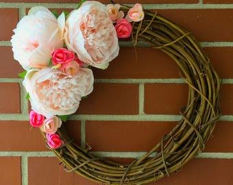 Country Bliss Wreath, Grapevine Wreath, Pink Peonies, Home Decor, Spring Decor, Summer Decor, Country Decor, Housewarming, Elegant, Minimal
