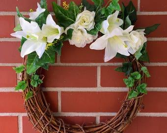 Moonlit Ivy Wreath, Grapevine Wreath, White Lilies, Ivy, Home Decor, Spring Decor, Front Door Wreath