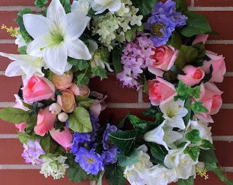 Spring Joy Wreath, Spring Decor, Floral Wreath, Front Door Decoration, Floral Decor, Pink Roses, White Lilies, Lilacs, Welcome, Seasonal