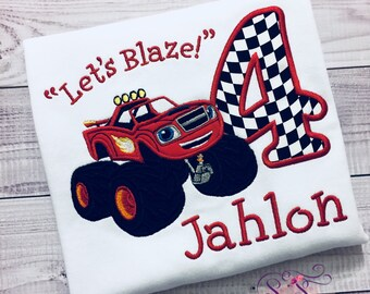 Personalized Blaze Monster Machine Red Truck Birthday Shirt Etsy