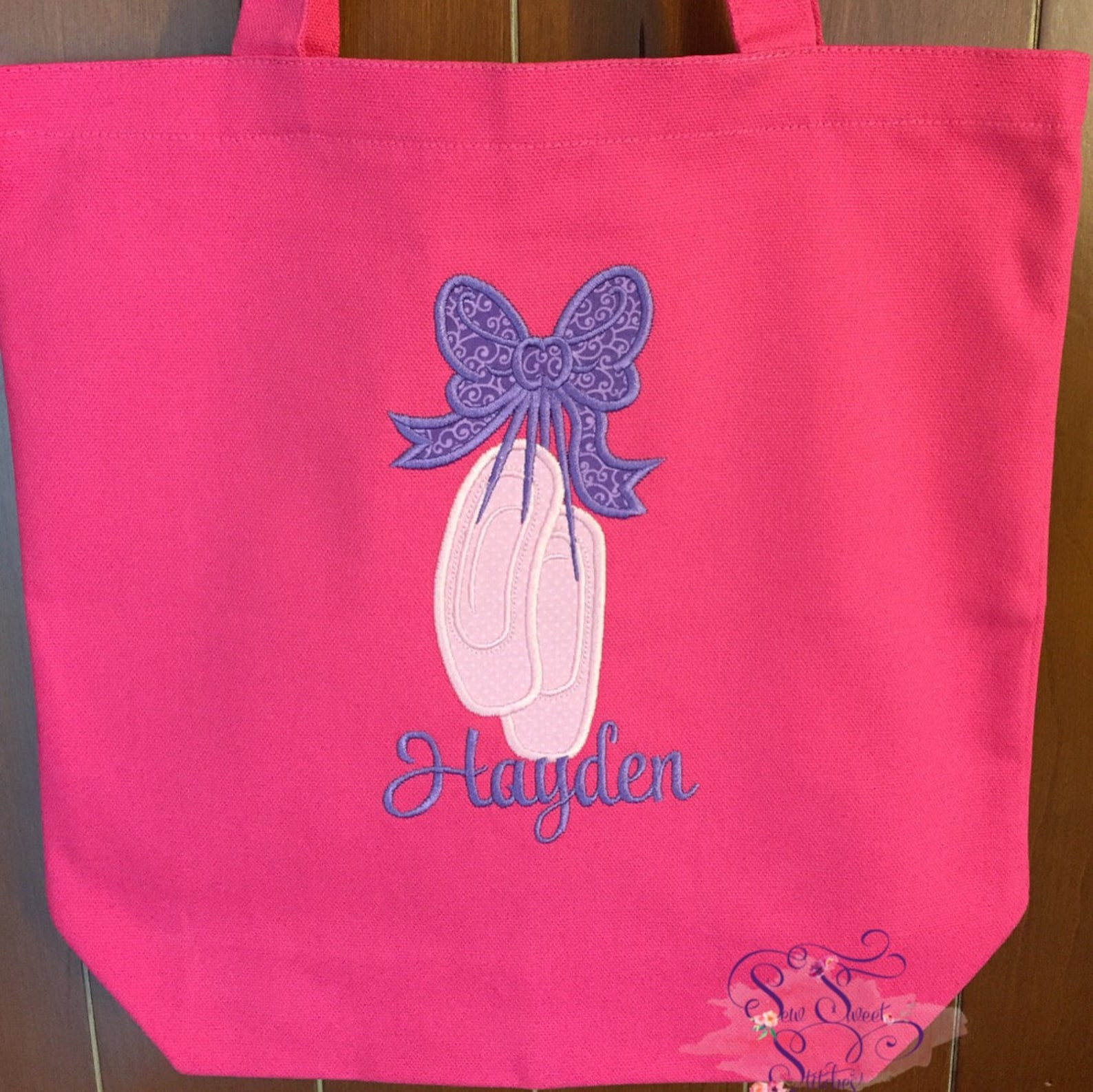 personalized ballet dance shoes appliqué canvas tote bag - dance bag, tote bag, embroidered, toddler, child