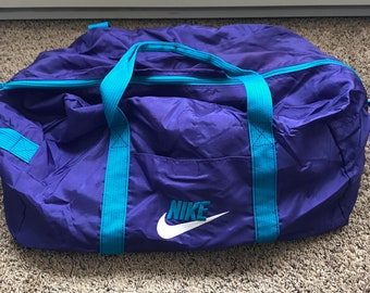Vintage 90 s Nike GRAY TAG Aqua Berry Fully Embroidered Gym Bag f40f0e9850