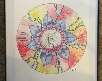 Watercolor flower fetus mandala