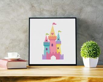 Fairy tale Castle - Modern nursery cross stitch pattern PDF for kids - Instant download