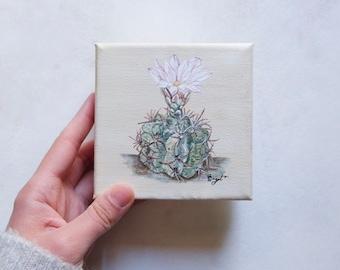 Original Cactus Painting / 4 x 4 in. / Minimalistic / Modern Art