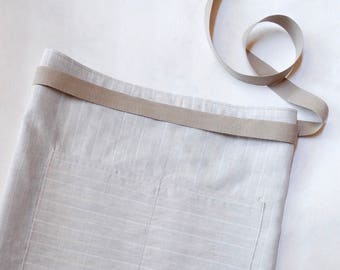 Reversible Linen Midi Apron with Pockets / Hand-Stamped bee pattern / Ticking pattern / Natural & White Color