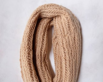 Blush Naturally-Dyed Knitted Herringbone Cowl / Wool Scarf / Eco-Friendly / Hand Dyed