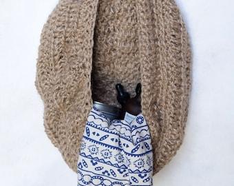 "Large Crochet Twine Hanging Basket / 14"" Diameter / Storage / Bath or Kitchen Basket / Rustic"