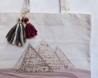 """Hand-painted Pyramids with Stamped Camels Tote-bag / Reusable / 13"""" x 13"""" / Tassels / Thick Cotton Canvas /"""