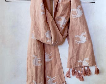 Naturally-dyed Blush Linen Scarf with Camels and Tassels / Hand-dyed / White Camels Pattern