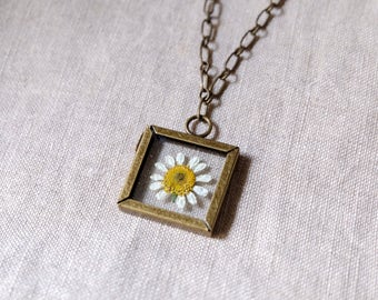 Pressed Chamomile Flower Necklace   Jewelry   Nature   30 in. Length   Ephemeral Collection