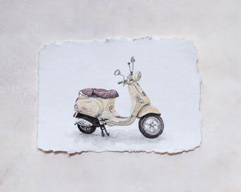 Original Watercolor Yellow Vespa on Handmade Cotton Paper / 5 x 7 in.