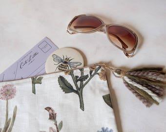 Hand-Painted Botanical Linen Clutch with tassels / Original Art / Handmade / Make-up Bag