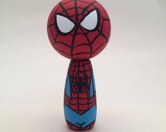 Spider Man Peg Doll Kokeshi