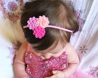 Baby Headband, Girl Headband, Felt Flower Headband, Pink Headband, Baby girl Headband, Photo Shoot Headband,Baby Shower Gift,Flower Headband