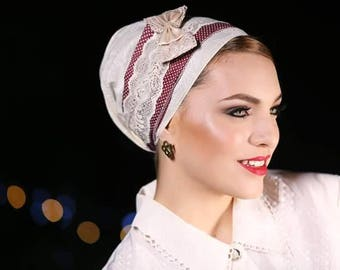 headband mitpachat hairband tichel Cream colored cotton with a burgundy stripe and lace ribbon with cream plus a beautiful bow head covering