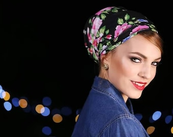 sale sale headband mitpachat tichel for women Black cotton with colorful flowers Halforwhole jewish head covering