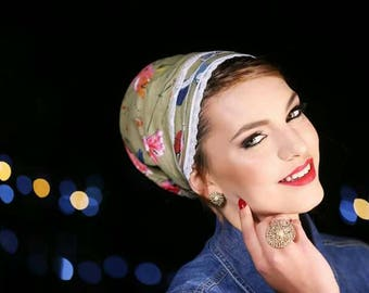 headband mitpachat tichel for women Green cotton with white lace Halforwhole jewish head covering