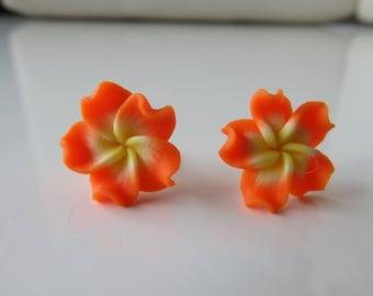 """Ega"", orange and yellow flower studs earrings"